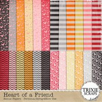 Heart of a Friend Digital Scrapbooking Bonus Papers