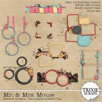 Mr. & Mrs. Mouse Digital Scrapbooking Element Clusters Disney Vacation