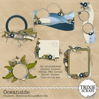 Oceanside Digital Scrapbooking Clusters