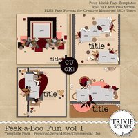 Peek-a-Boo Vol 1 Digital Scrapbooking Templates PSD/TIF/PAGE
