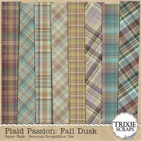 Plaid Passion: Fall Dusk Digital Scrapbooking Paper Pack