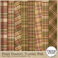 Plaid Passion: Tuscan Fall Digital Scrapbooking Paper Pack