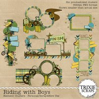 Riding with Boys Digital Scrapbooking Clusters Boys Sports Kids