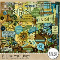 Riding with Boys Digital Scrapbooking Kit Children Sports Kids