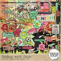 Riding with Girls Digital Scrapbooking Kit Children Kids Sports