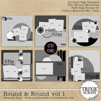 Round & Round Vol 1 Digital Scrapbooking Templates PSD/TIF/PAGE