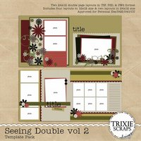 Seeing Double volume 2 Digital Scrapbooking Templates PSD/TIF/PAGE