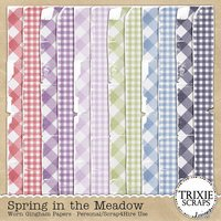 Spring in the Meadow Digital Scrapbooking Worn Gingham Papers