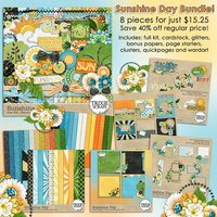 Sunshine Day Digital Scrapbooking Bundle Summer Pool Beach