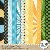 Sunshine Day Dots & Bursts Digital Scrapbooking Papers Summer