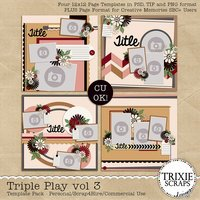 Triple Play vol 3 Digital Scrapbooking Templates PSD/TIF/PAGE