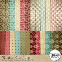Winter Carolers Digital Scrapbooking Bonus Papers