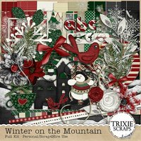 Winter on the Mountain Digital Scrapbooking Kit Seasons Holidays Christmas