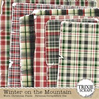 Winter on the Mountain Digital Scrapbooking Worn Christmas Plaid