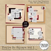 You're So Square Vol 1 Digital Scrapbooking Templates PSD/TIF